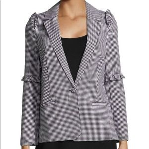 Saks Fifth Avenue Gingham Ruffle Blazer